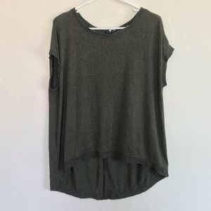 Matty M Olive Green Knit Back Exposed Zipper Top M